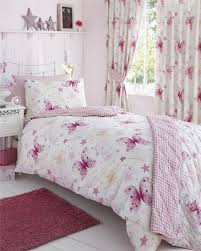 girls bedding sets with matching curtain using tieback in white color based with pink buterfly pattern