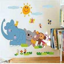 baby zoo animals nursery. Perfect Nursery LM1003 Kids Zoo Animals Animation Decal Stickers Elephant Monkey Nursery  Baby Art For S
