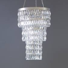 410mm dia long clear crystal chandelier with flat nickel