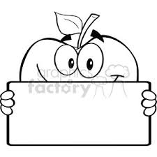 apple clip art black and white. 6537 royalty free clip art black and white apple character holding a banner
