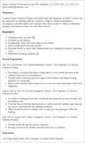 Worker Resume School Cafeteria Worker School Cafeteria Worker Resume