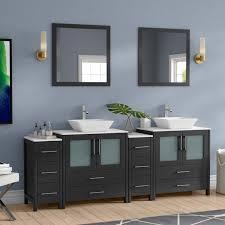 wade logan karson modern 84 double bathroom vanity set with mirror wayfair