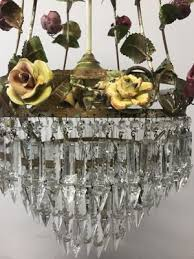 vintage italian crystal chandelier with porcelain flowers 6