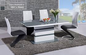 grey glass white high gloss dining table and 6 chairs