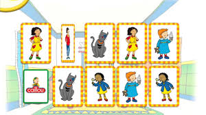 watch caillou games in english caillou memory game