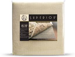 superior light weight strong grip textured rubber slip resistant reversible beige hard floor surface and under rug protection area rug pad 8 x 10
