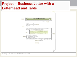 Letterhead Business Letter Chapter 3 Creating A Business Letter With A Letterhead And Table