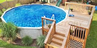 Image Rectangle Above Ground Pool 523 The Pool Factory Pool Deck Ideas partial Deck The Pool Factory