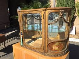 antique french gilt wood curved glass curio cabinet photo 1