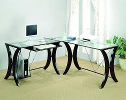 picture of home office. exellent home coaster lshape home office computer desk cappuccino finish base glass top for picture of