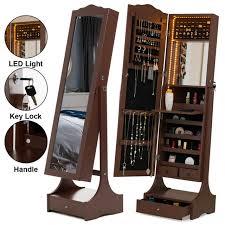 swivel cabinet full length floor mirror clothes closet organizer storage shelf for