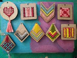 embroidered wooden pendant diy work with akaar