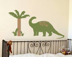 palm tree wall stickers: dinosaur and palm tree wall decal set o brontosaurus with palm tree wall stickers o kids bedroom playroom nursery o prehistoric dino theme