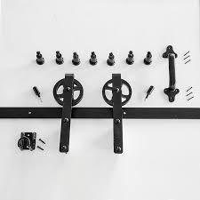 hp 96 in matte black interior side mount barn door kit