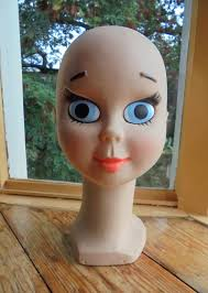 Jahrgang Manga Twiggy Kopf Hoofd Tête à Chapeau Mannequin Anzeige Kopf Dekokopf Kleiderständer Anfang Der 1970er Jahre