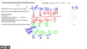 solving quads by factoring example 2