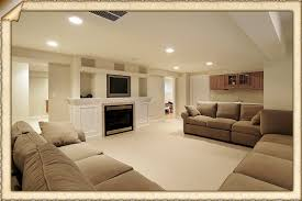 ... Simple And Neat Ideas For Finished Basement Decoration Design :  Fantastic Living Room Finished Basement Decoration ...