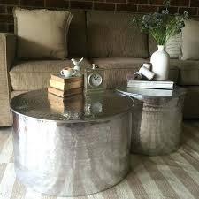 silver drum table coffee table metal drum coffee table round metal drum coffee table brushed silver silver drum table