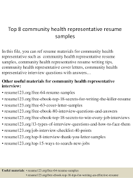 Top 8 community health representative resume samples In this file, you can  ref resume materials ...