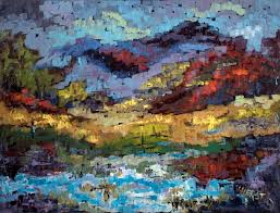 southwest desert and mountain landscapes her rich bold colorful oil paintings include cowboy art american indian paintings