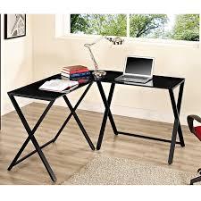 black glass l shaped computer desk