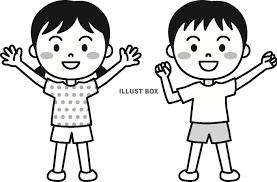 無料イラスト 夏の子供帽子なしモノクロ
