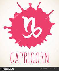 Capricorn Logo Design Capricorn Hand Drawn Zodiac Sign Illustration Pink Paint