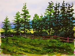 painting a line of pines