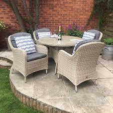 lg outdoor mille barley 4 seat round rattan garden furniture set