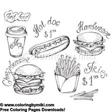 Fast Food Menu Coloring Page 855 Coloring By Miki