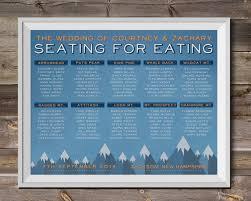 Sky Blue Mountain Range Outdoor Wedding Seating Chart