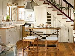 Birch Wood Kitchen Cabinets Rustic Cottage Kitchen Three Birch Wood Bar Stools White Painted