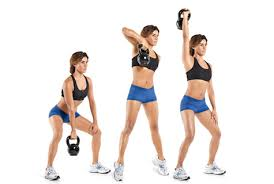 Image result for woman kettlebell squat curl workout