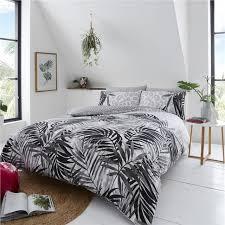 grey duvet sets tropical palm leaf
