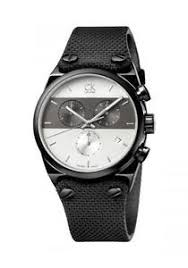 mens watch ck calvin klein eager k4b384b6 chrono black leather image is loading mens watch ck calvin klein eager k4b384b6 chrono