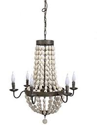creative co op iron chandelier with wood beads and 6 light 30