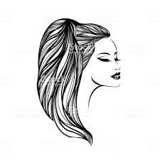 美しい女性のロングポニーテールの髪型と大胆なメイク髪と美容室ベクトル