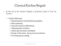 37 classical duties of a chef
