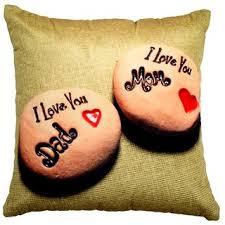 valtellina i love u mom dad print brown colour cushion cover vlcu 001