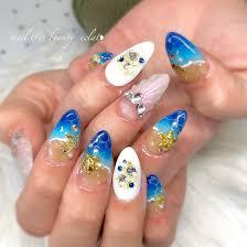 夏水色ブルー Nail Beauty éclatのネイルデザインno4087735