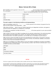 Vehicle Bill Of Sale Form Automobile Template Colorado Used Car