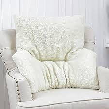 Armchair Fleece Back Rest Lumbar Support Aid Cushion Relieve Pain Beige  Deluxe