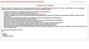 Assistant Editor Job Experience Letter