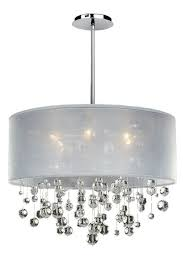 lighting magnificent white drum shade chandelier with crystals 10 shell and