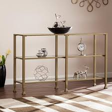 dina metal glass 3 tier console media stand gold