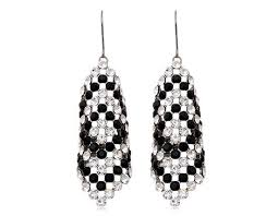 18k gold plated alloy crystal chandelier earrings white gold