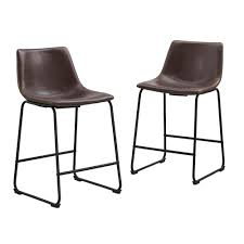 Walker Edison Furniture Company Wasatch 36 In Brown Bar Stools Set Of 2 Bar Stools10