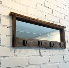 Buy Coat Rack Online Entryway Mirror with Four Coat Hooks Rustic Reclaimed Wood Coat 71