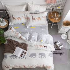 oroa new cartoon animals elephant print duvet cover sets for kids 100 cotton reversible soft 3 pieces kids bedding duvet cover pillowcases child bedding