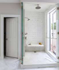 walk in shower with seamless glass folding shower doors